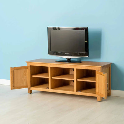 Nordic Oak Plasma TV Cabinet with doors open