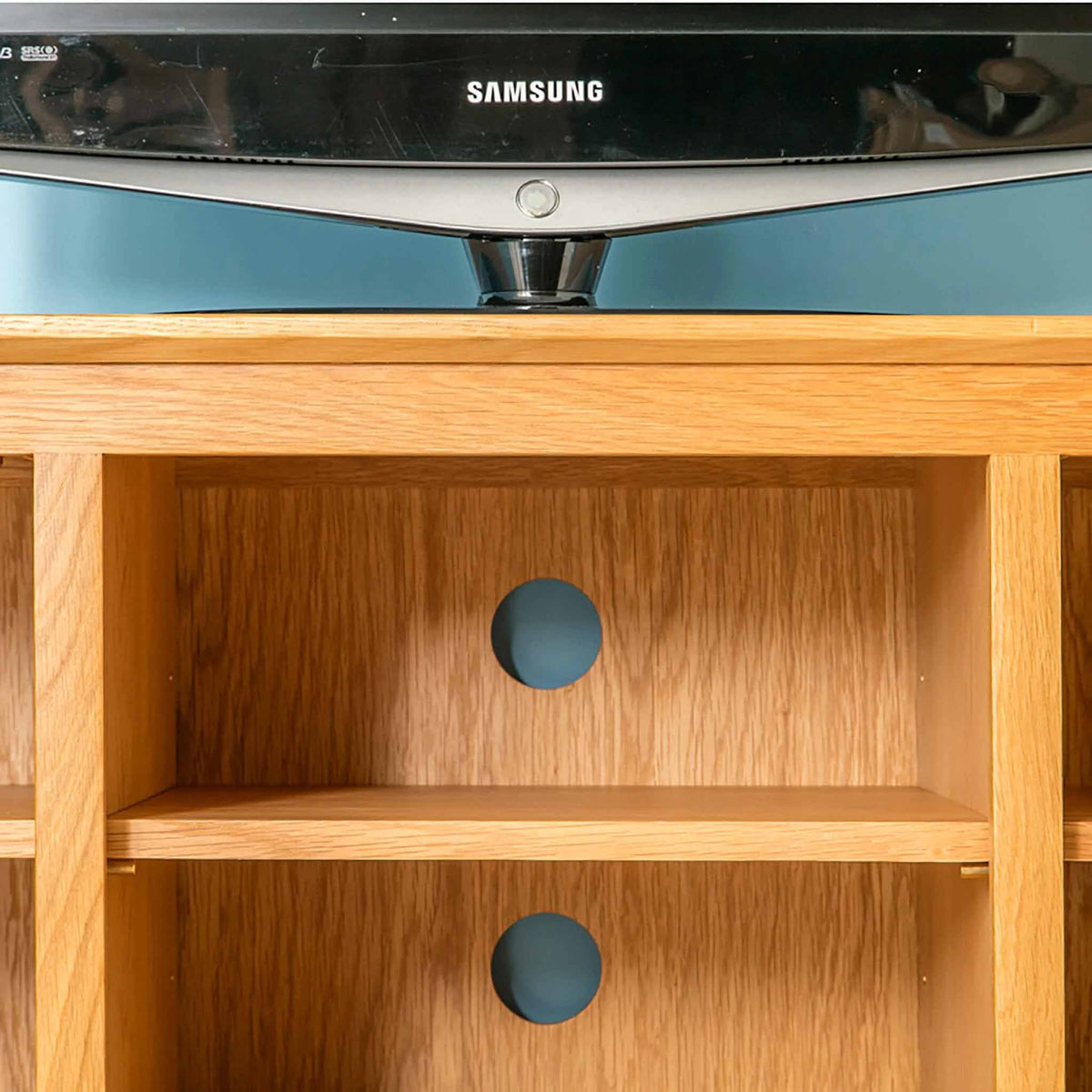 Close up of shelf of Nordic Oak Plasma TV Cabinet