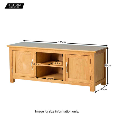 Nordic Oak 125cm Plasma TV Stand - Size Guide