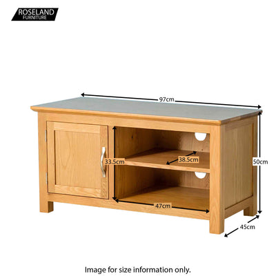 Nordic Oak 97cm TV Stand - Size Guide