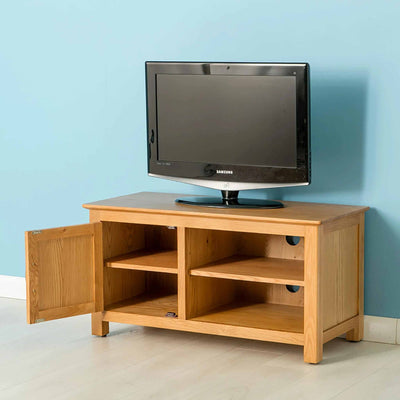Nordic Oak 97cm TV Cabinet with doors open