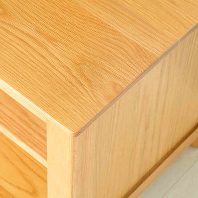 Top corner of Nordic Oak 97cm TV Cabinet