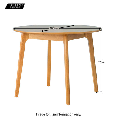 Nordic Oak Round Table Dining Set - Table Size Guide