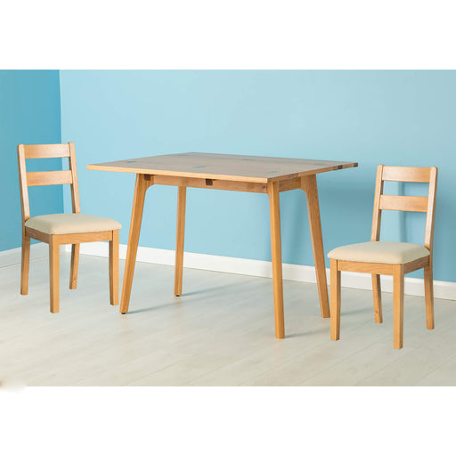 Nordic Oak Folding Table Dining Set ( 2 Chairs )