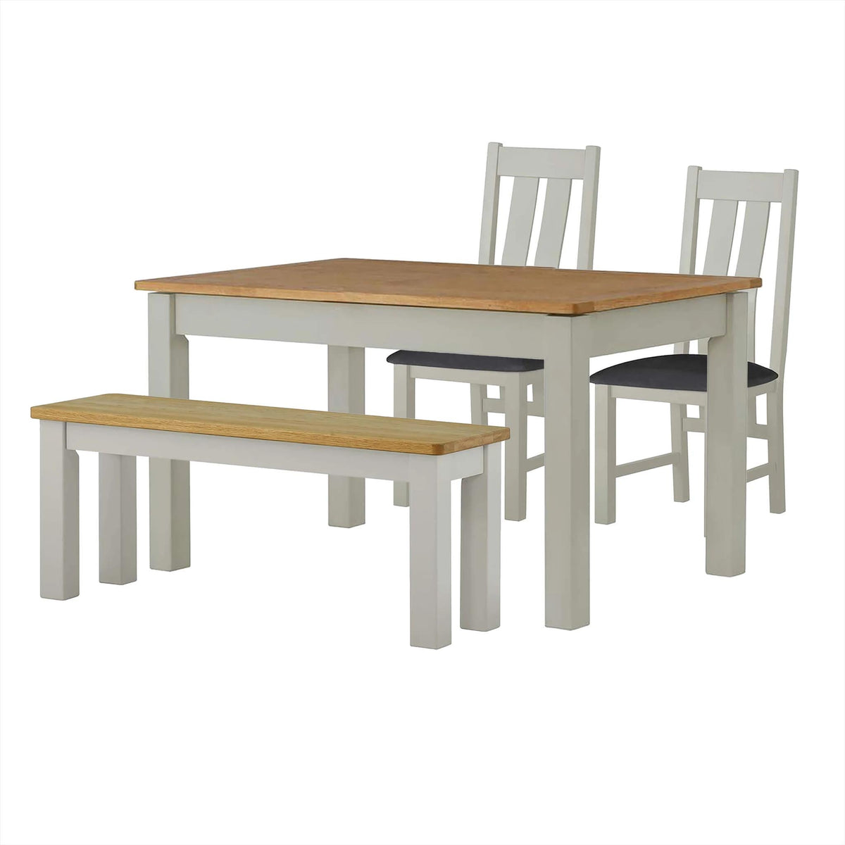 The Padstow Grey Dining Table Set with Indoor Bench and 2 Dining Chairs from Roseland Furniture