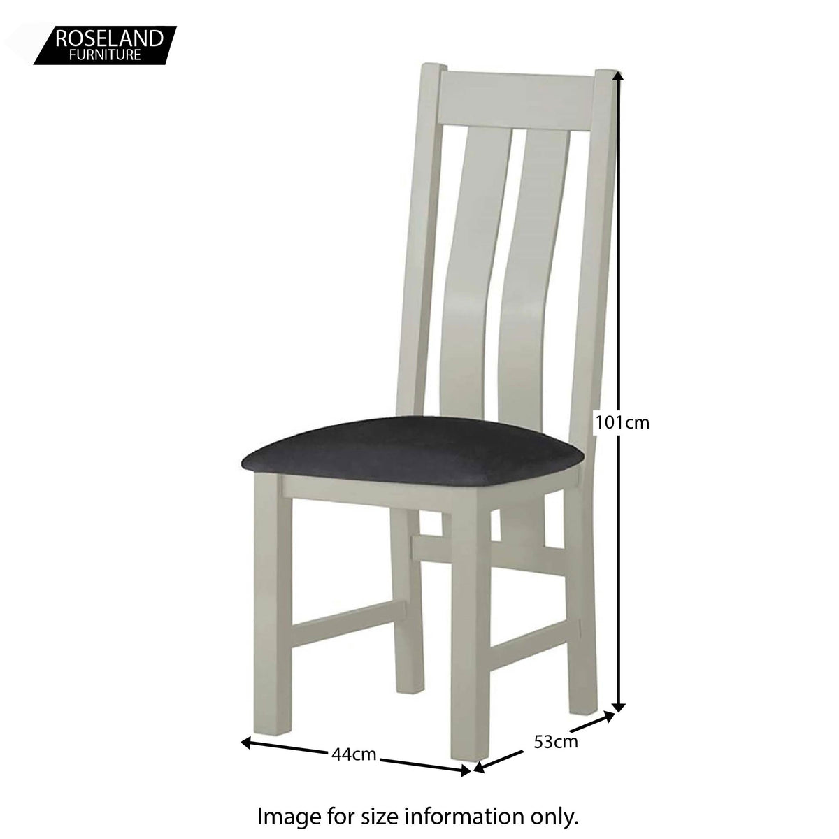 Padstow Grey Dining Chair - Size Guide