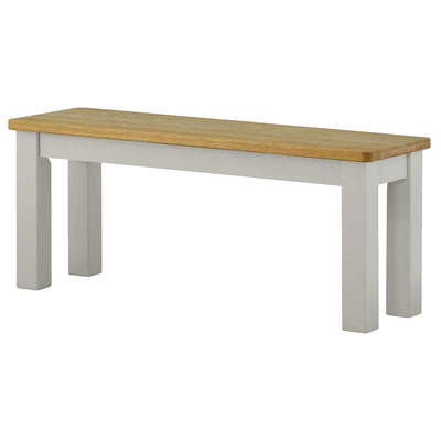 The Padstow Grey Indoor Dining Bench with Oak Top from Roseland Furniture