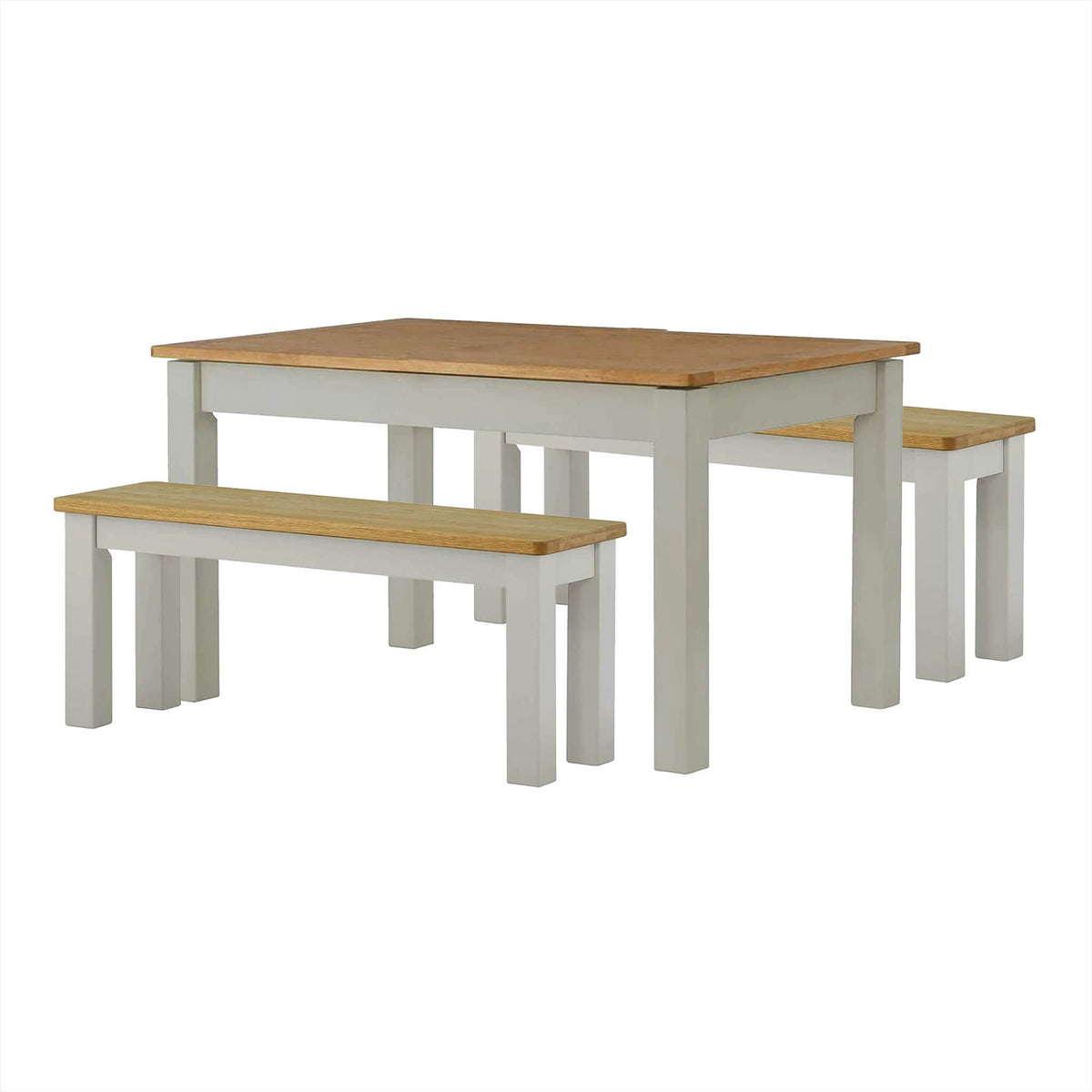 The Padstow Grey Wooden Dining Table Set with 2 Wooden Benches from Roseland Furniture