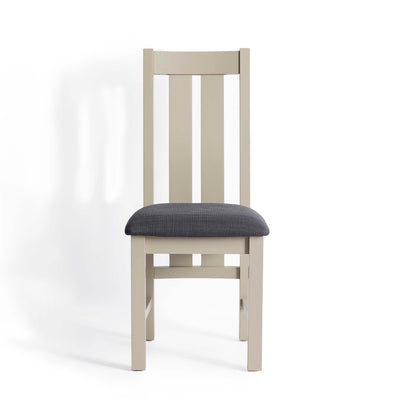 Padstow Stone Grey Dining Chair with Padded Seat by Roseland Furniture