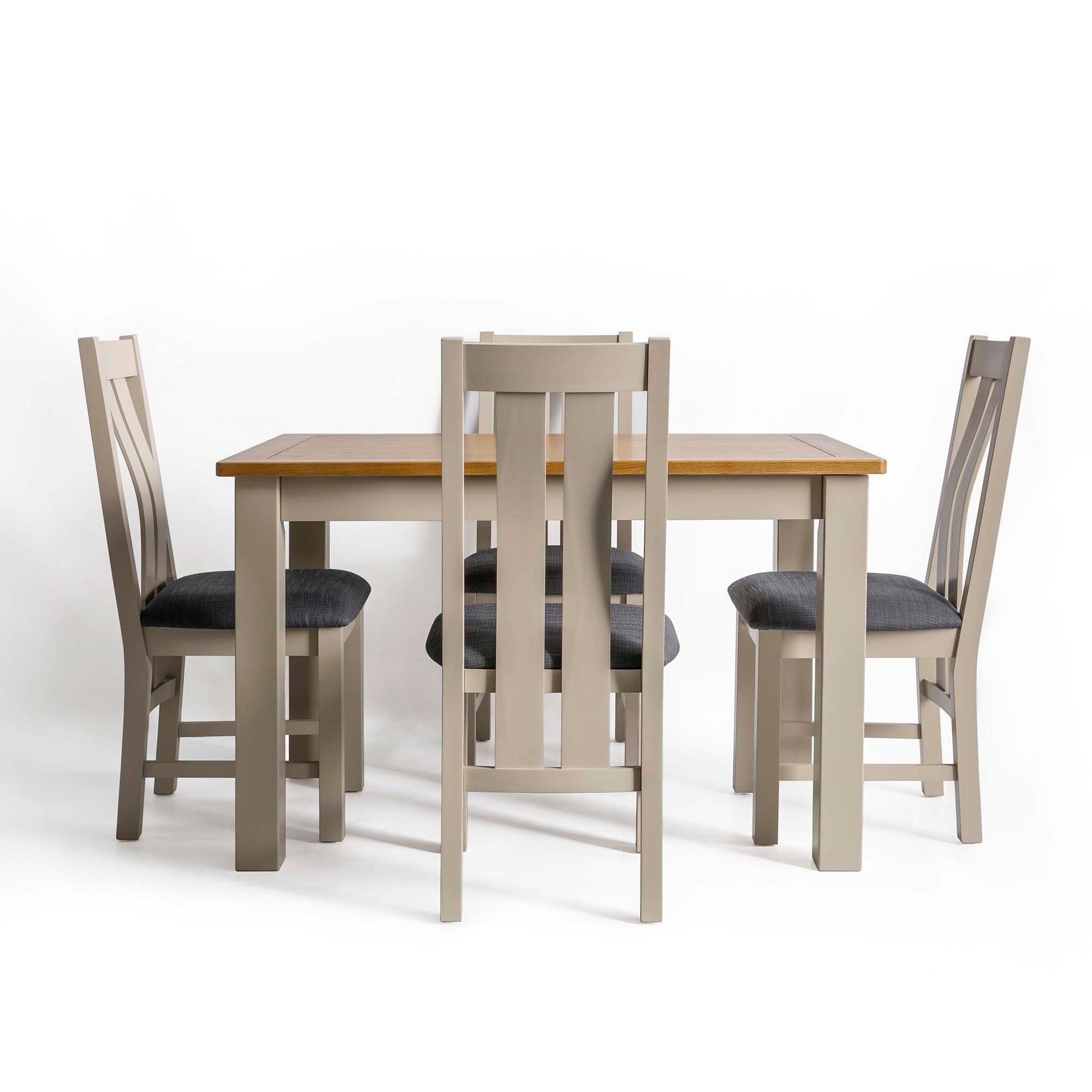 Padstow Stone Grey Dining Table Set with 4 Dining Chairs by Roseland Furniture