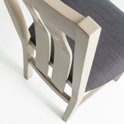 Padstow Stone Grey Dining Chair - Birds eye view of back of seat