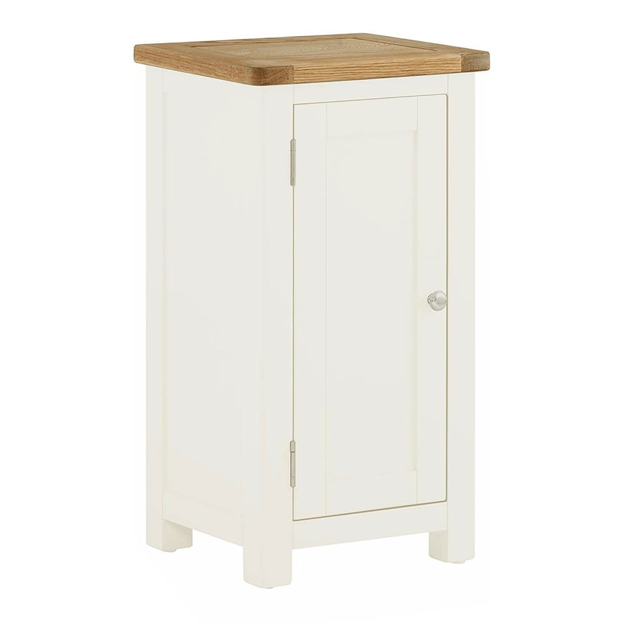 The Padstow White Narrow Bathroom Cabinet with 1 Door from Roseland Furniture