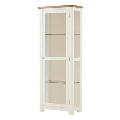 The Padstow White Tall Wooden Display Cabinet with Glass Door from Roseland Furniture