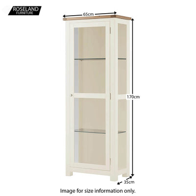 Padstow White Glass Display Cabinet - Size Guide