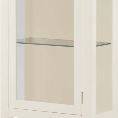 Padstow White Glass Display Cabinet - Close up of glass shelves inside cabinet
