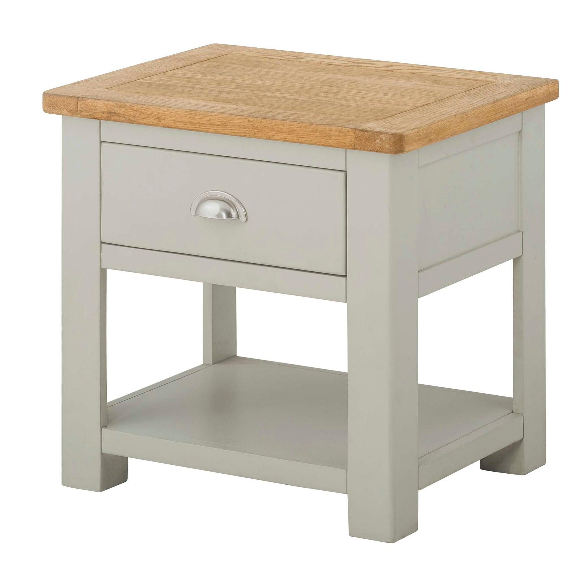 The Padstow Grey Wooden Lamp Table with Drawer by Roseland Furniture