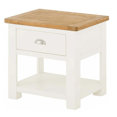 The Padstow White Wooden Lamp Table with Storage Drawer from Roseland Furniture