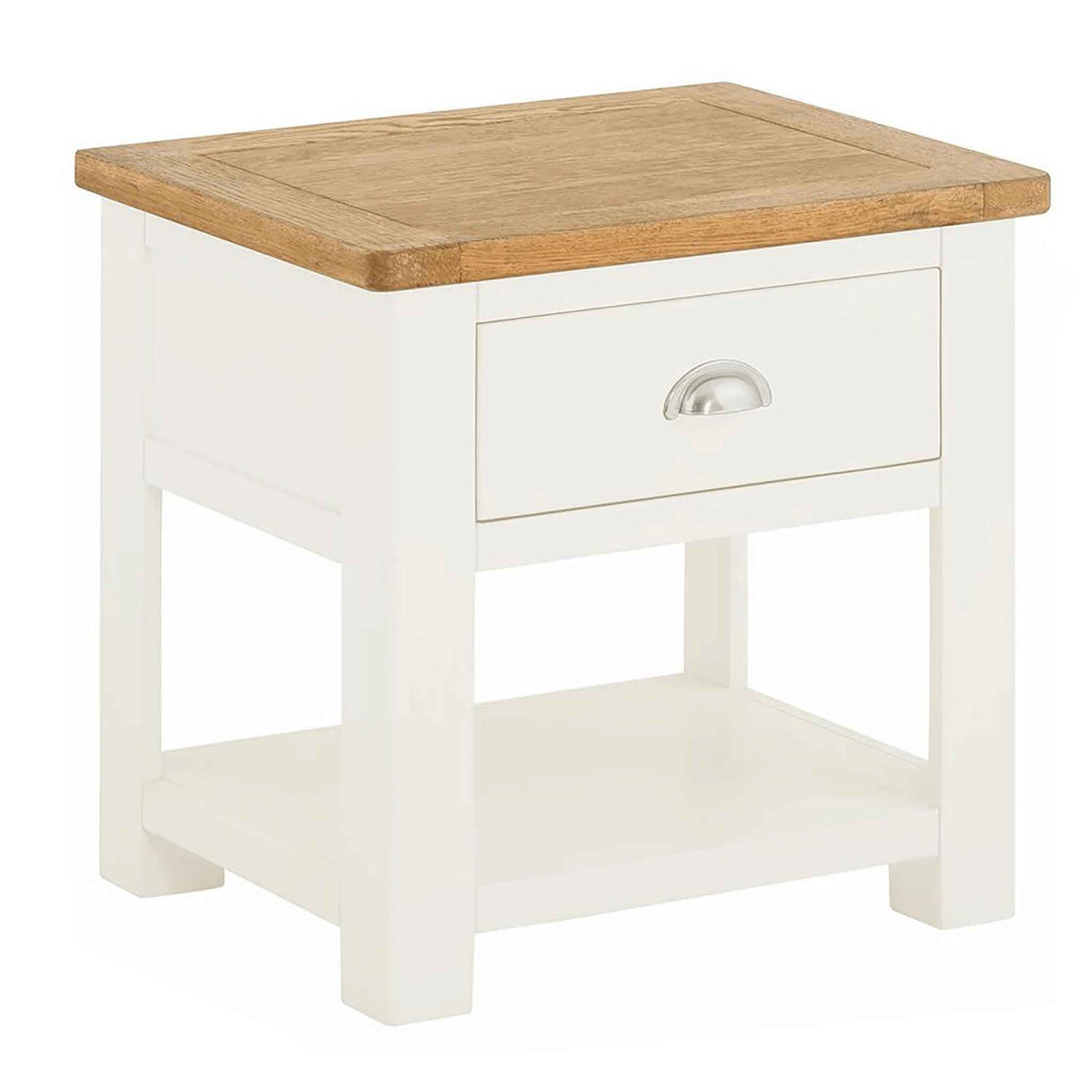 The Padstow White Solid Wood Side Table with Oak Top