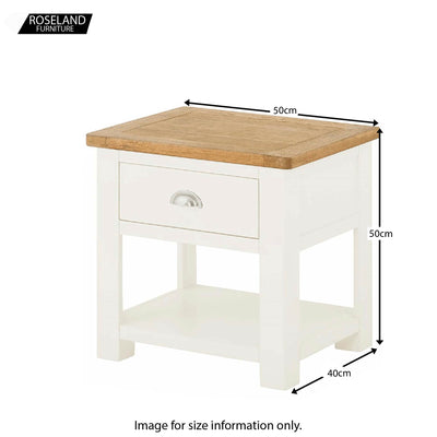 Padstow White Lamp Side Table - Size Guide