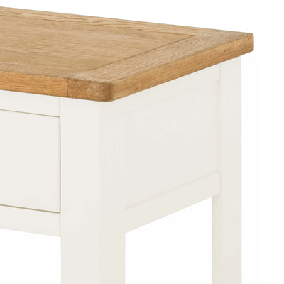 The Padstow White Side Lamp Table - Close Up of Oak Top