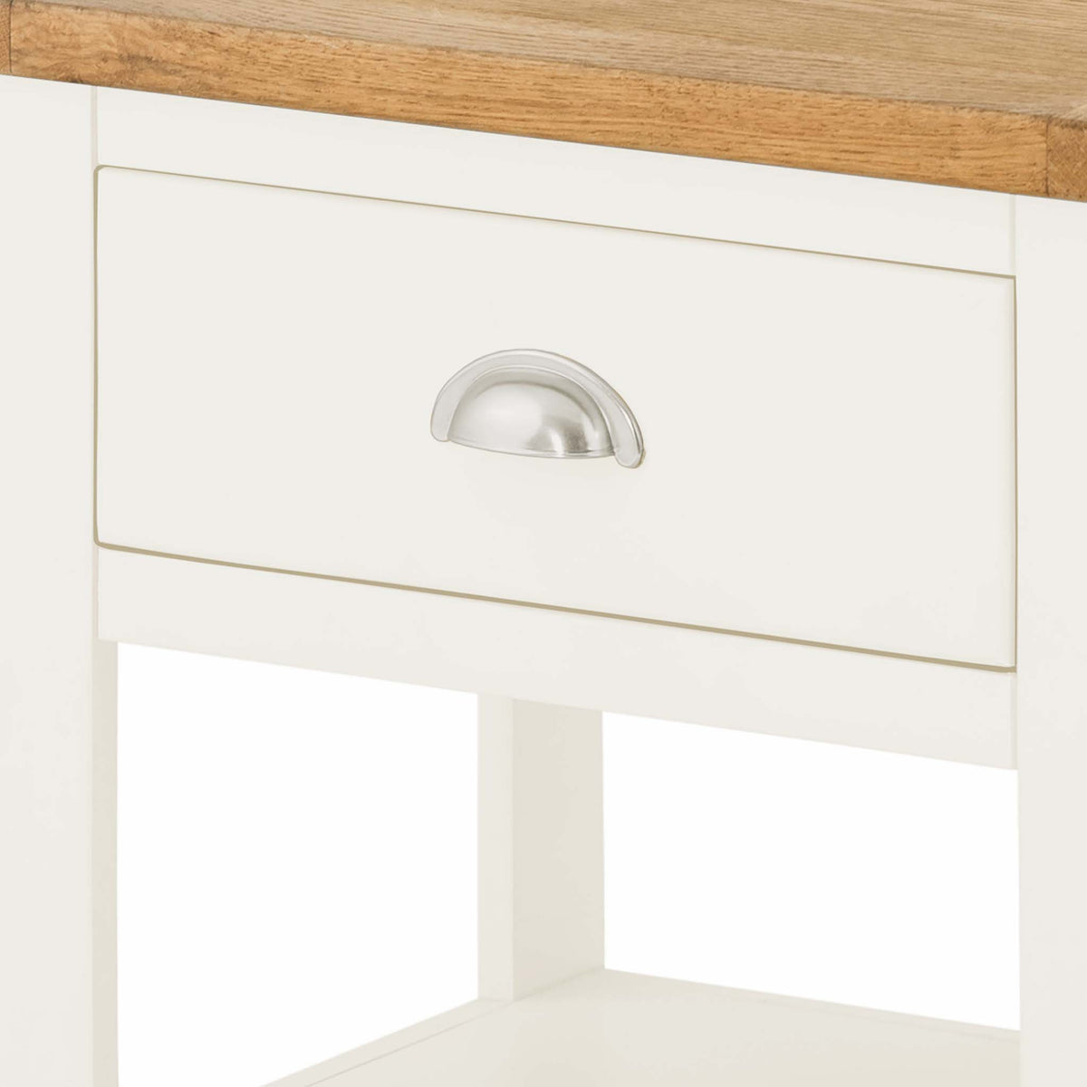 The Padstow White Side Lamp Table - Close Up of Drawer Front