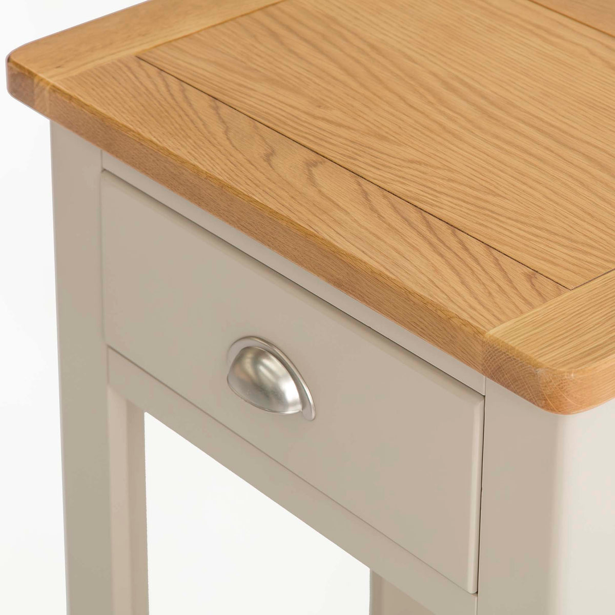 The Padstow Stone Grey Small Hallway Telephone Table - Close up of Drawer