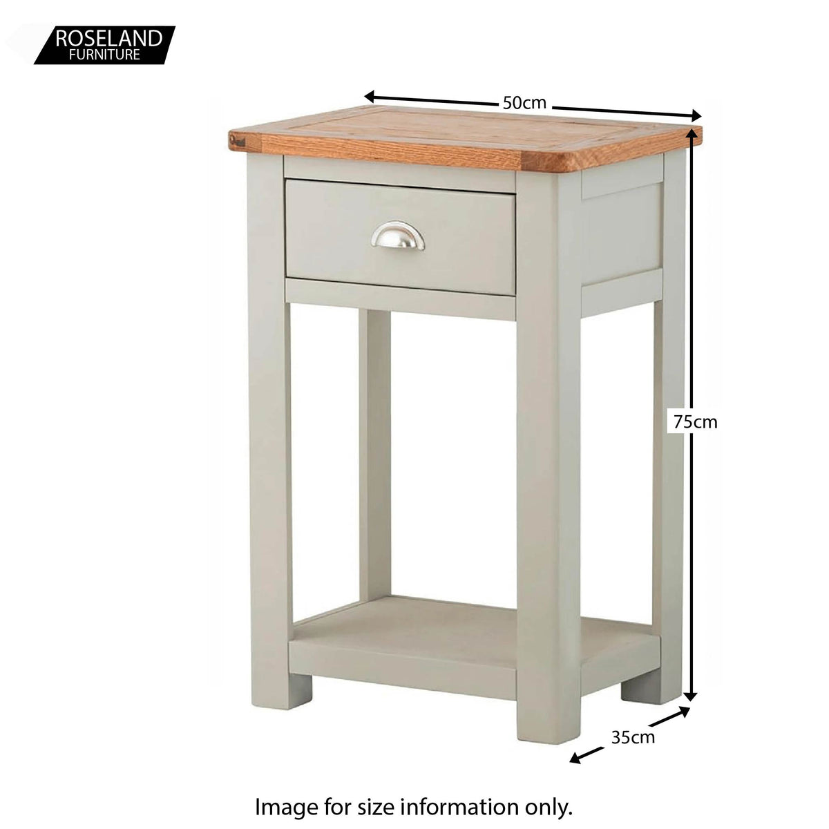 Padstow Grey Telephone Table - Size Guide