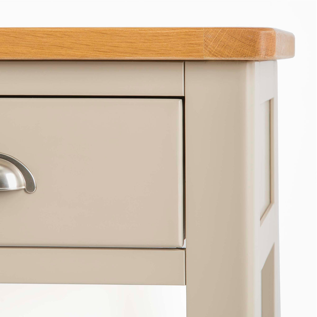 The Padstow Stone Grey Small Hallway Telephone Table - Close up of  Top Corner of Unit