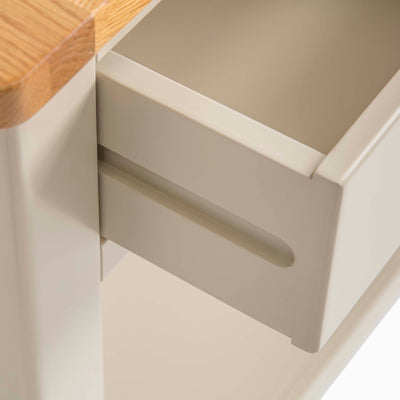 The Padstow Stone Grey Small Hallway Telephone Table - Close up of  Drawer Runner