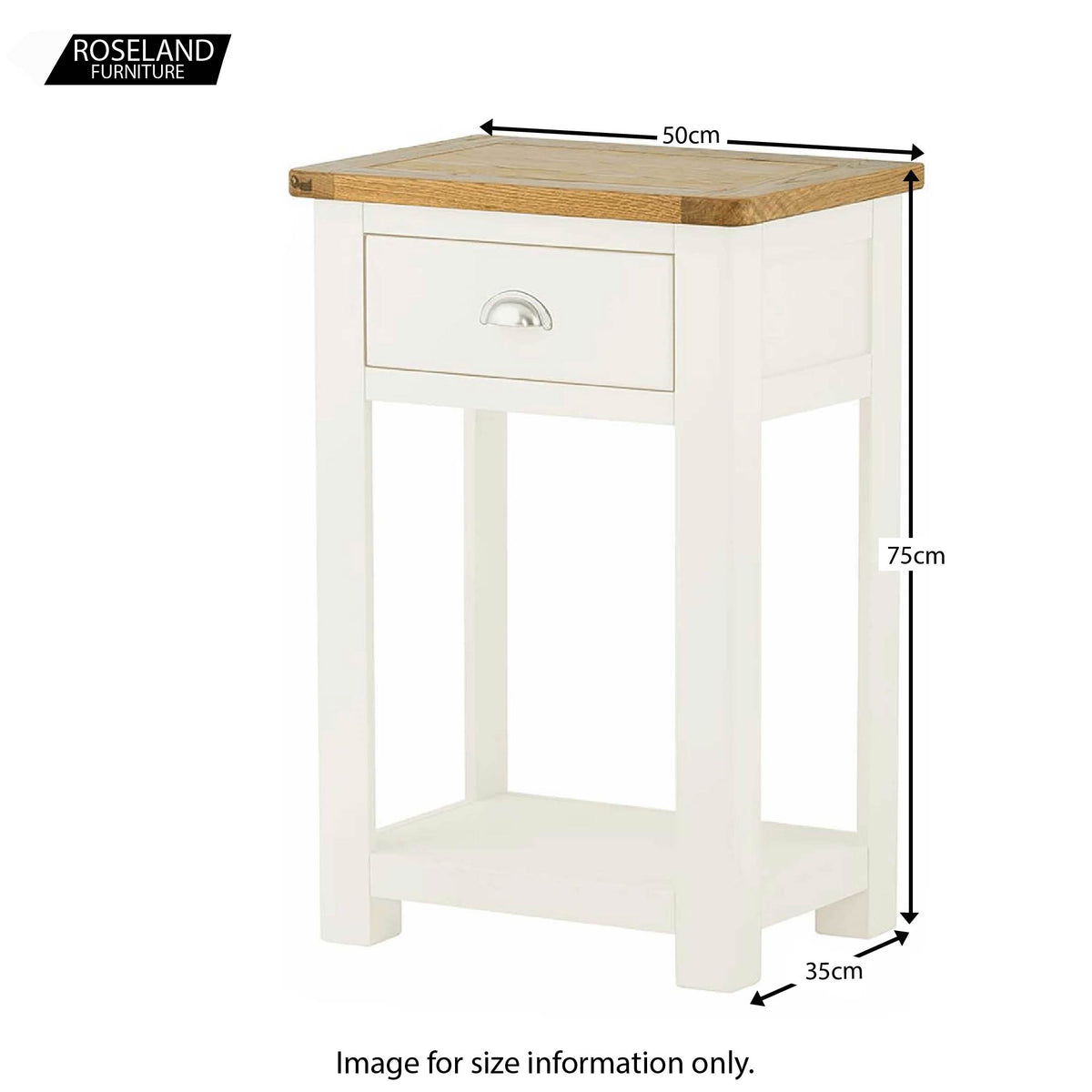 Padstow White Hall Telephone Table - Size Guide