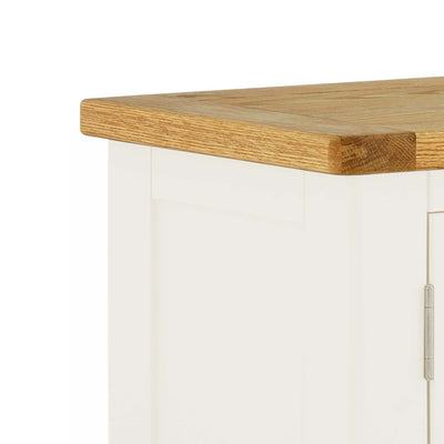 The Padstow White 2 Door Cupboard Cabinet - Close Up of Oak Top