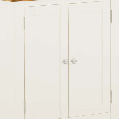 The Padstow White 2 Door Cupboard Cabinet - Close Up of Front of Cupboard Doors