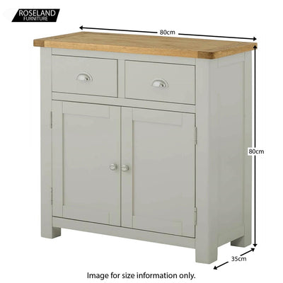 Padstow Grey 2 Door Sideboard - Size Guide
