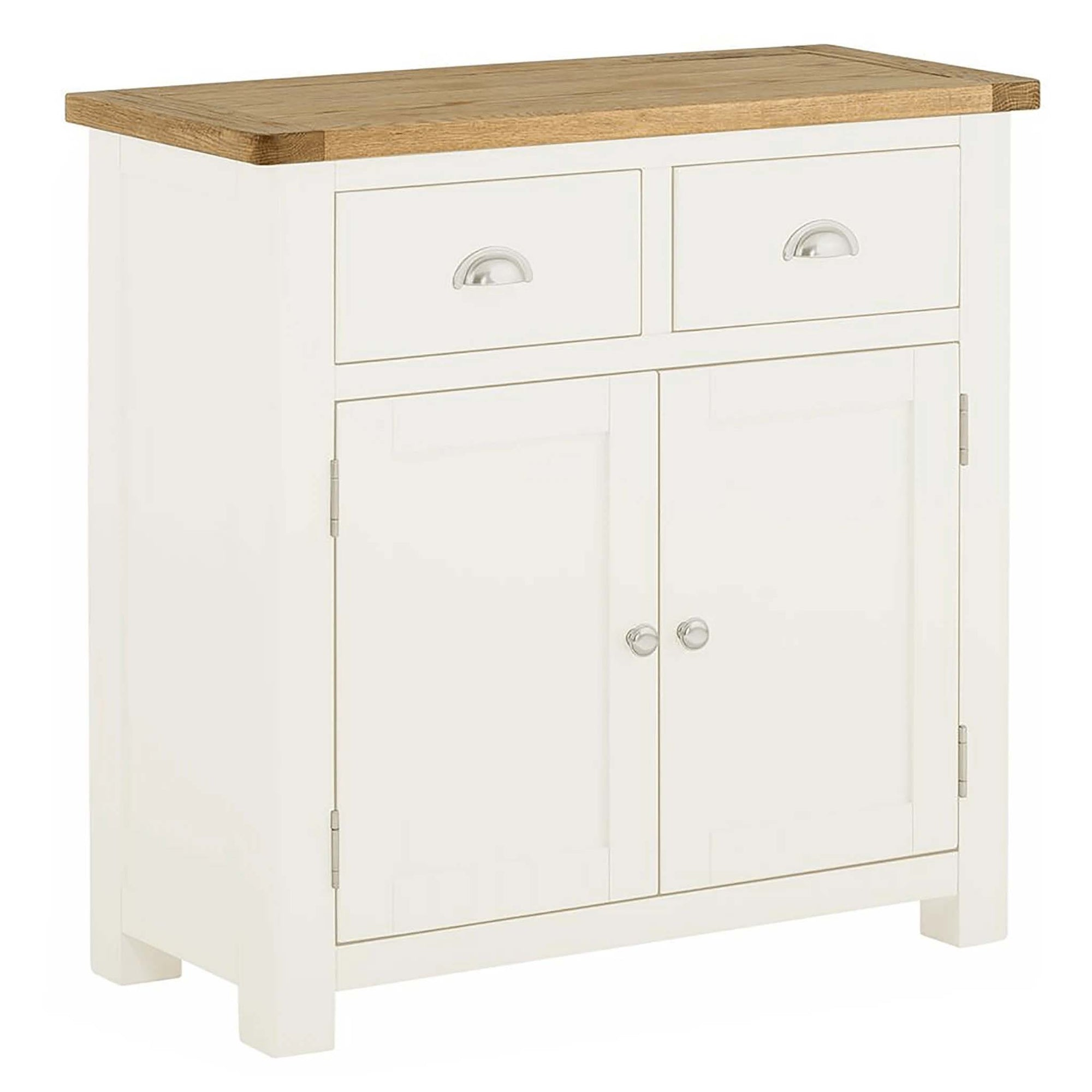 The Padstow White Small 2 Door Sideboard Cabinet with Oak Top from Roseland Furniture