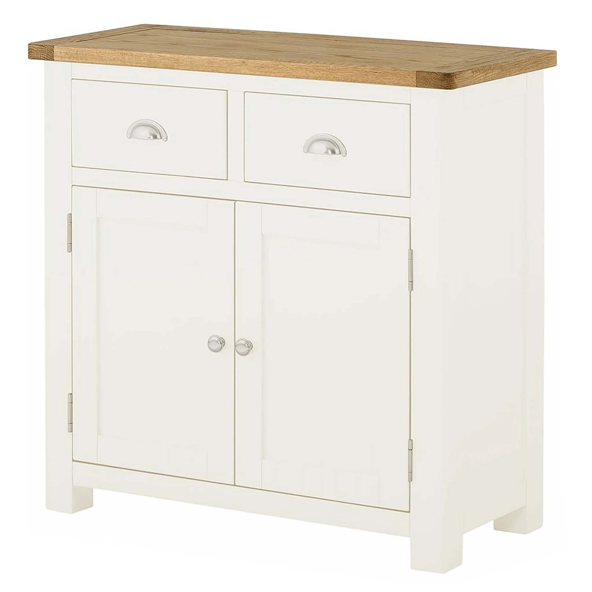 The Padstow White Small Wooden Sideboard with 2 Drawers