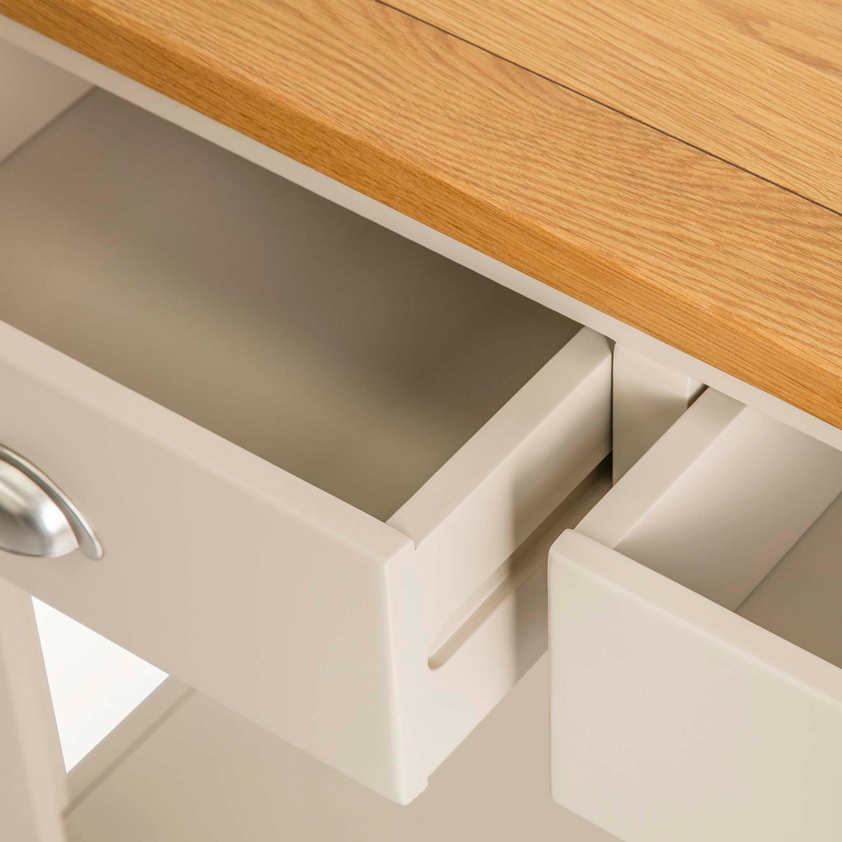 The Padstow Stone Grey Wooden Console Table - Close up of  inside of Drawers
