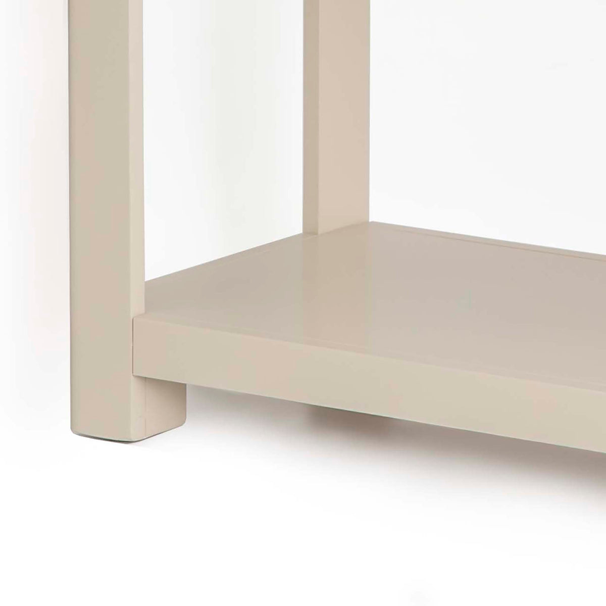 The Padstow Stone Grey Wooden Console Table - Close up of  Lower Shelf and Legs