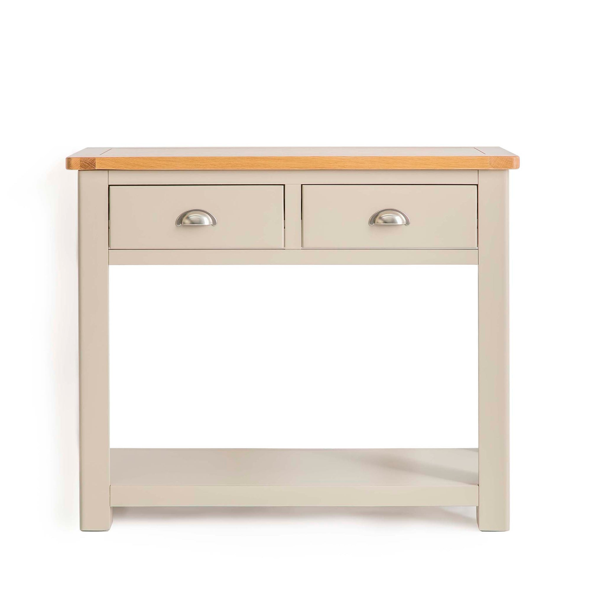 The Padstow Grey Wooden Console Table with 2 Drawers from Roseland Furniture