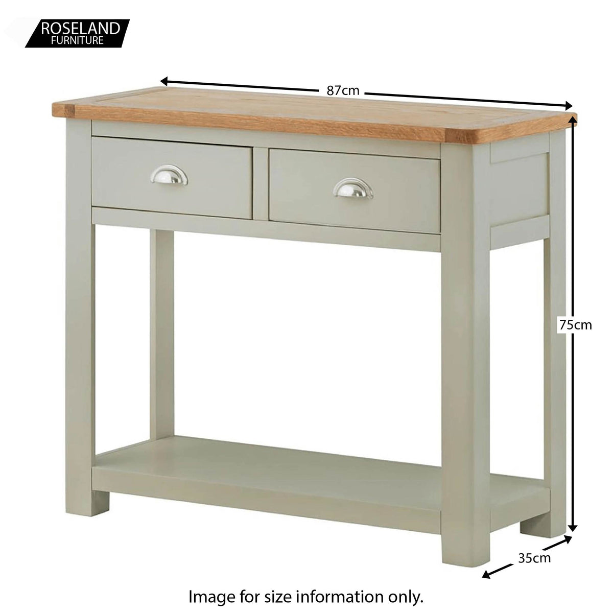 Padstow Grey Console Table - Size Guide
