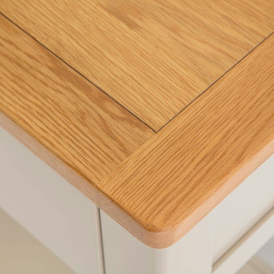 The Padstow Stone Grey Wooden Console Table - Close up of  Oak Top Corner