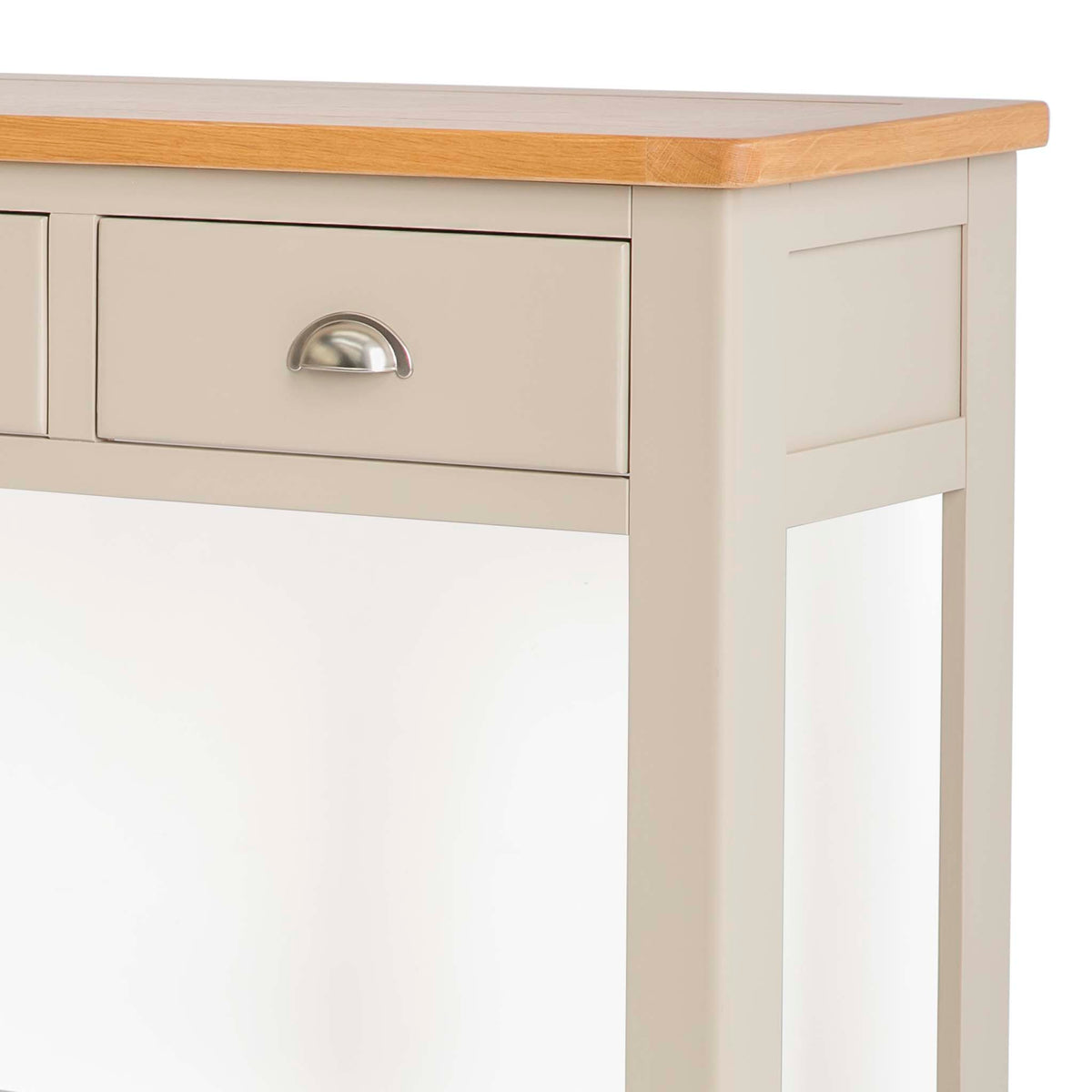 The Padstow Stone Grey Wooden Console Table - Close up of Drawer