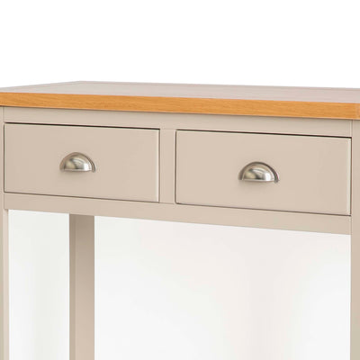 The Padstow Stone Grey Wooden Console Table - Close up of  Drawers