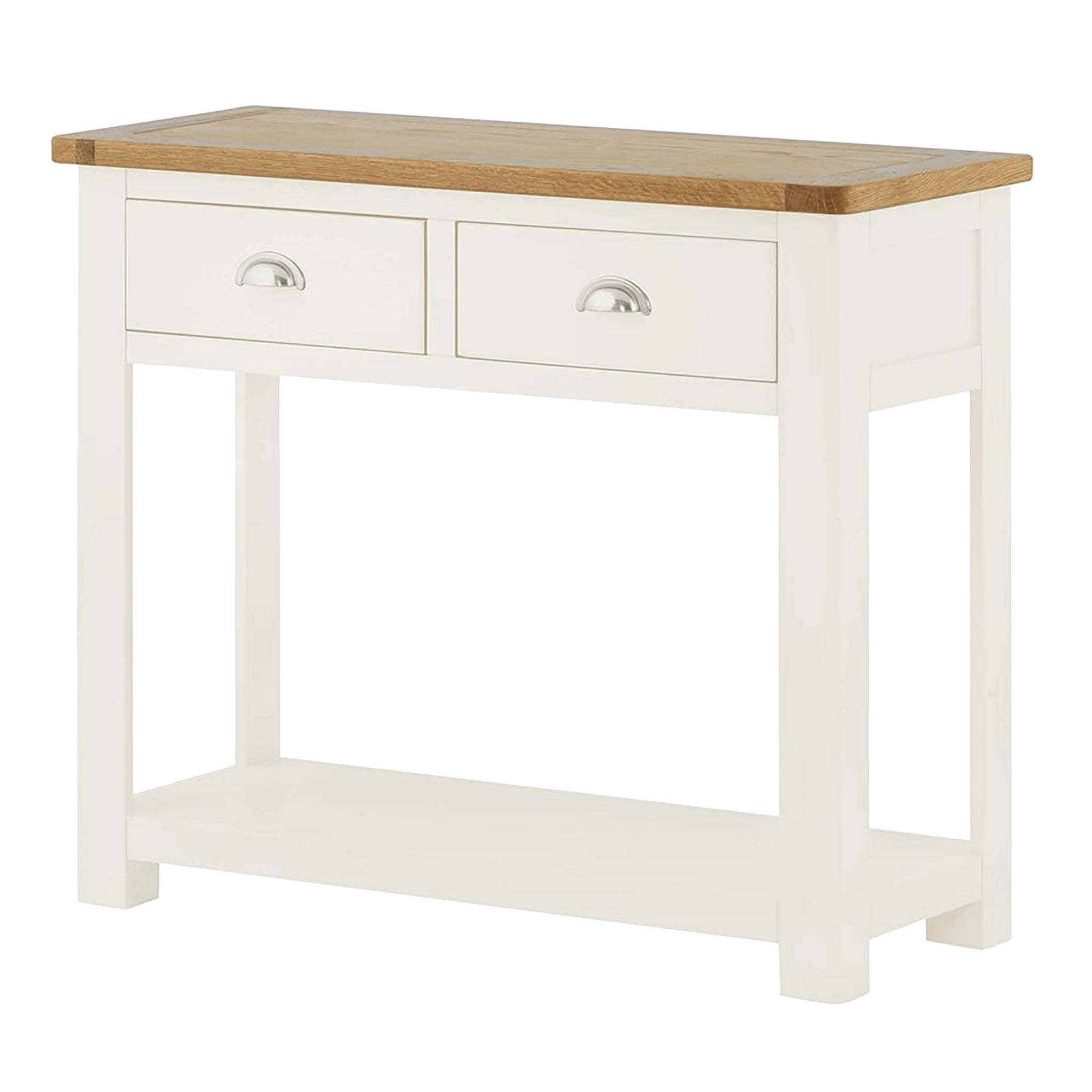 The Padstow White Wooden Hall Console Table with Oak Top from Roseland Furniture