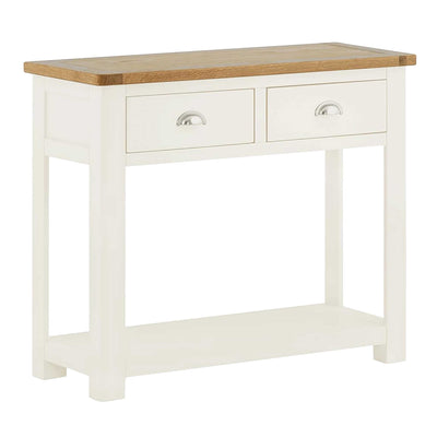 The Padstow White Solid Wood Hallway Console Table with 2 Drawers from Roseland Furniture