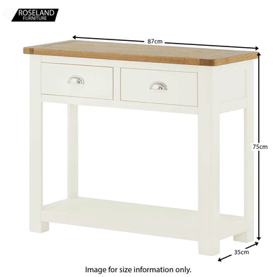 Padstow White Console Table - Size Guide