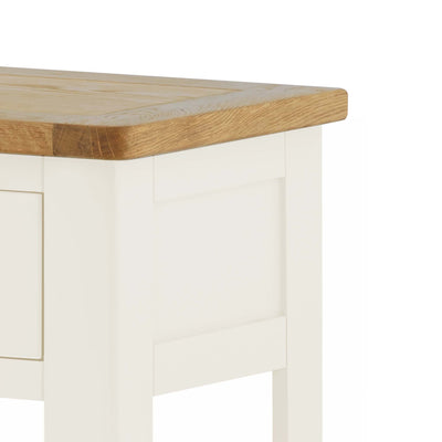 The Padstow White Hallway Console Table - Close Up of Oak Top