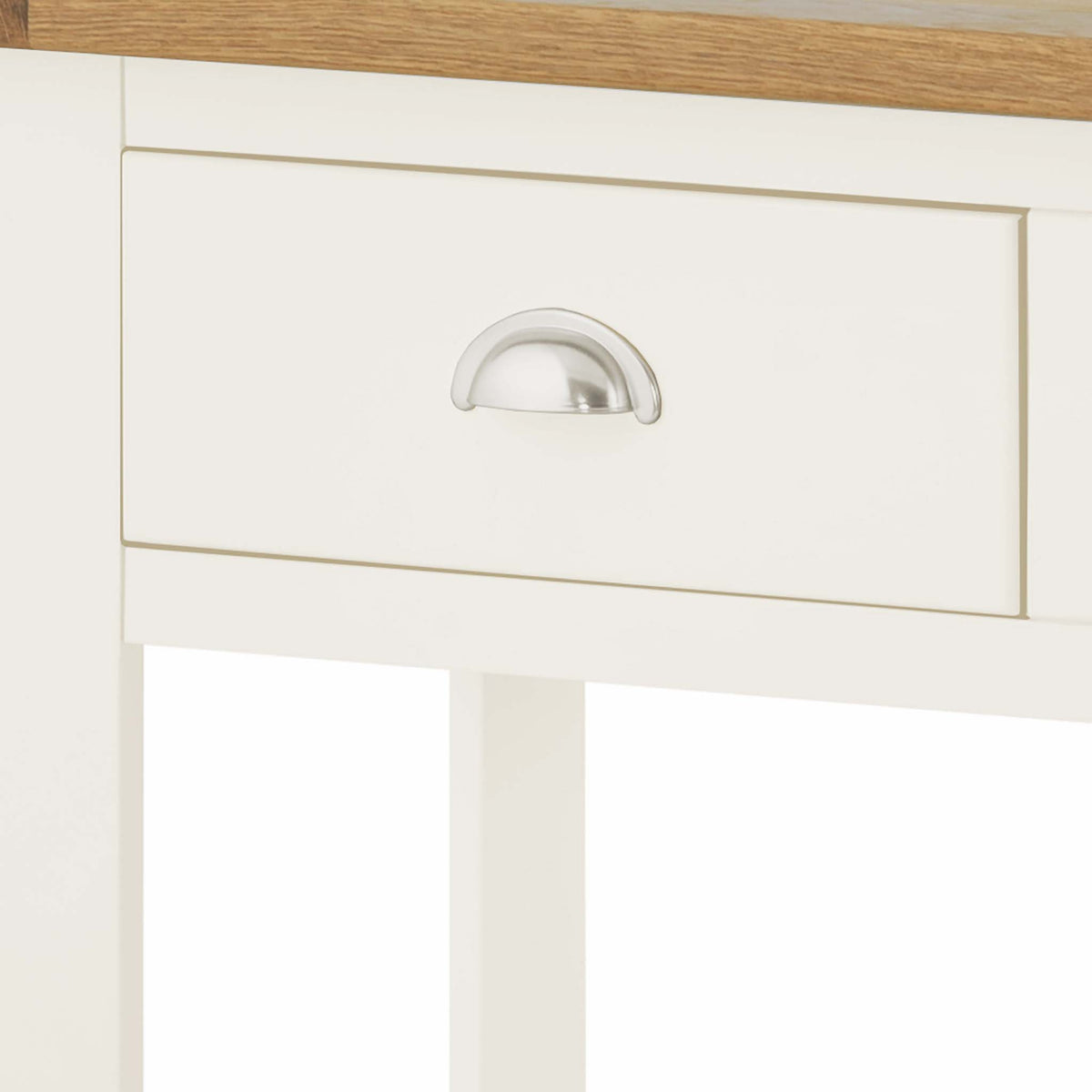 The Padstow White Hallway Console Table - Close Up of  Drawer Front