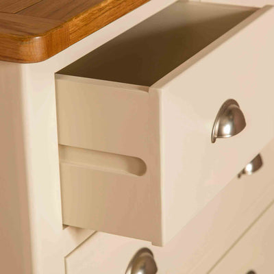 Close up of drawer joint on The Padstow Cream Wooden Chest of Drawers