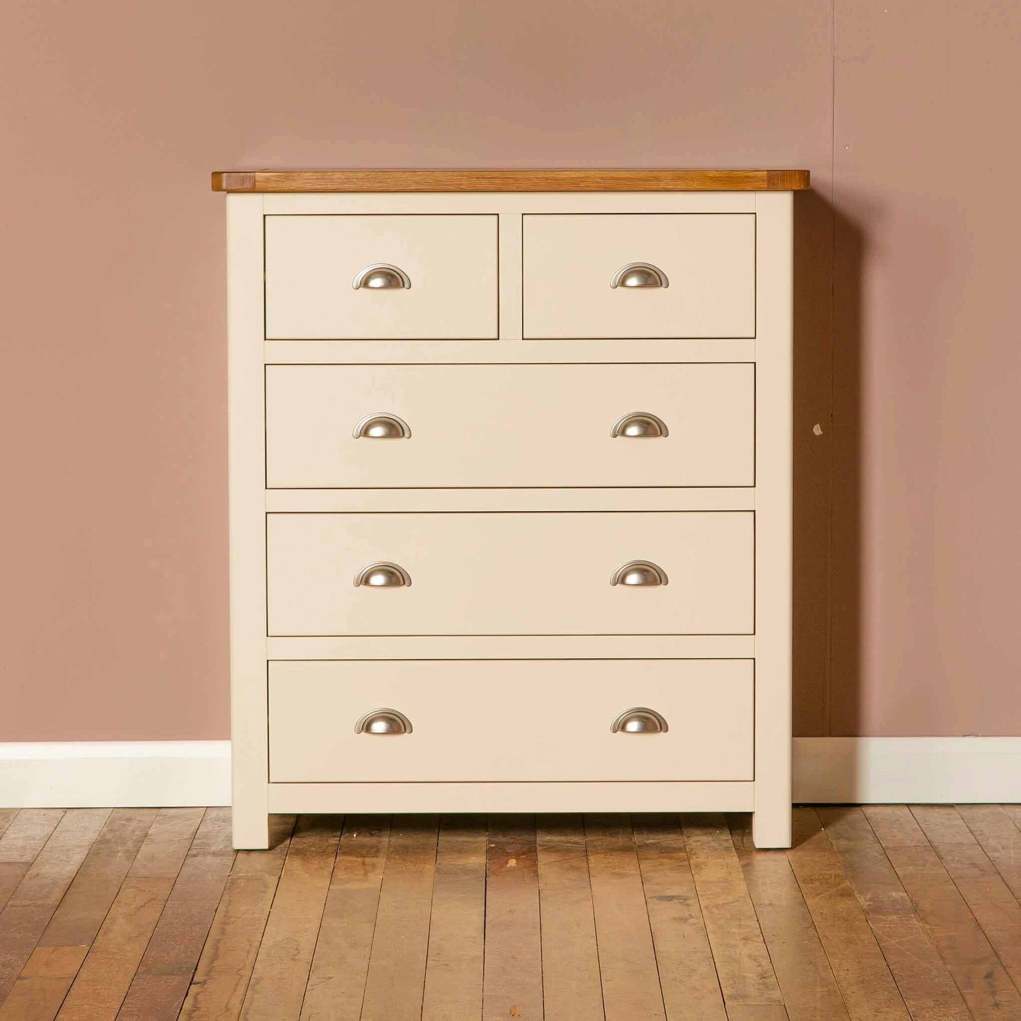 The Padstow Cream Wooden Bedroom Chest of Drawers with Oak Top from Roseland Furniture