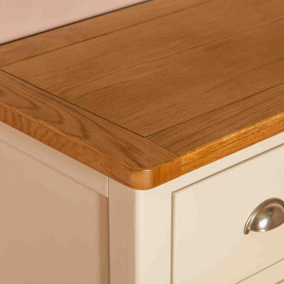 Close up of tabletop surface on The Padstow Cream Wooden Chest of Drawers